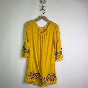 Umgee Embroidered Shift U Neck Dress Goldenrod